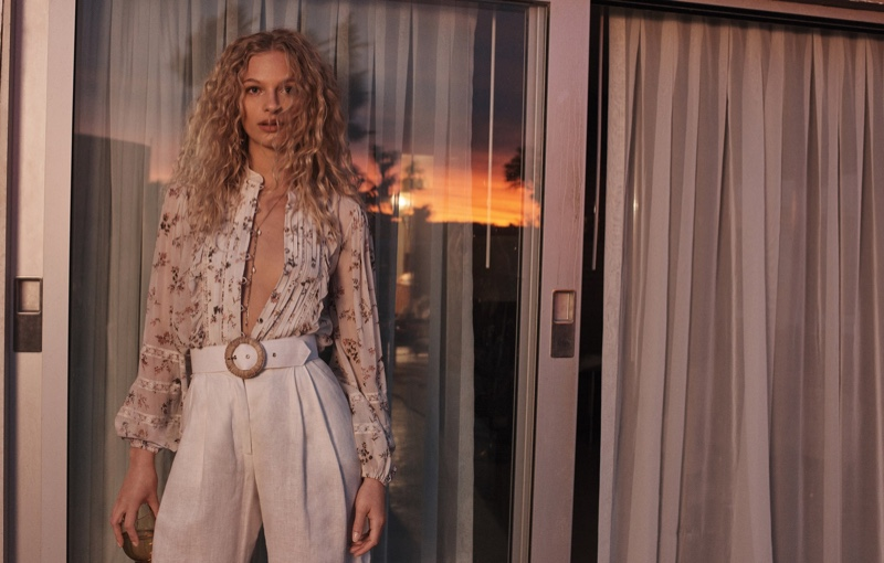 Frederikke Sofie wears blouse and pants in Zimmermann's spring 2018 campaign