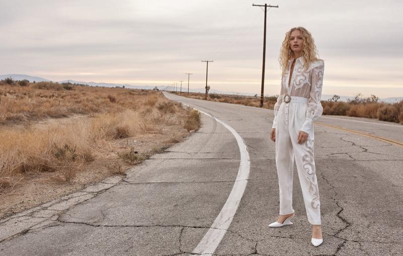 Frederikke Sofie wears Radiate jumpsuit and Goldentime wedge heel in Zimmermann's spring 2018 campaign