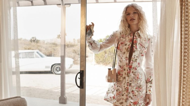 Frederikke Sofie is a Golden Girl in Zimmermann's Spring 2018 Campaign