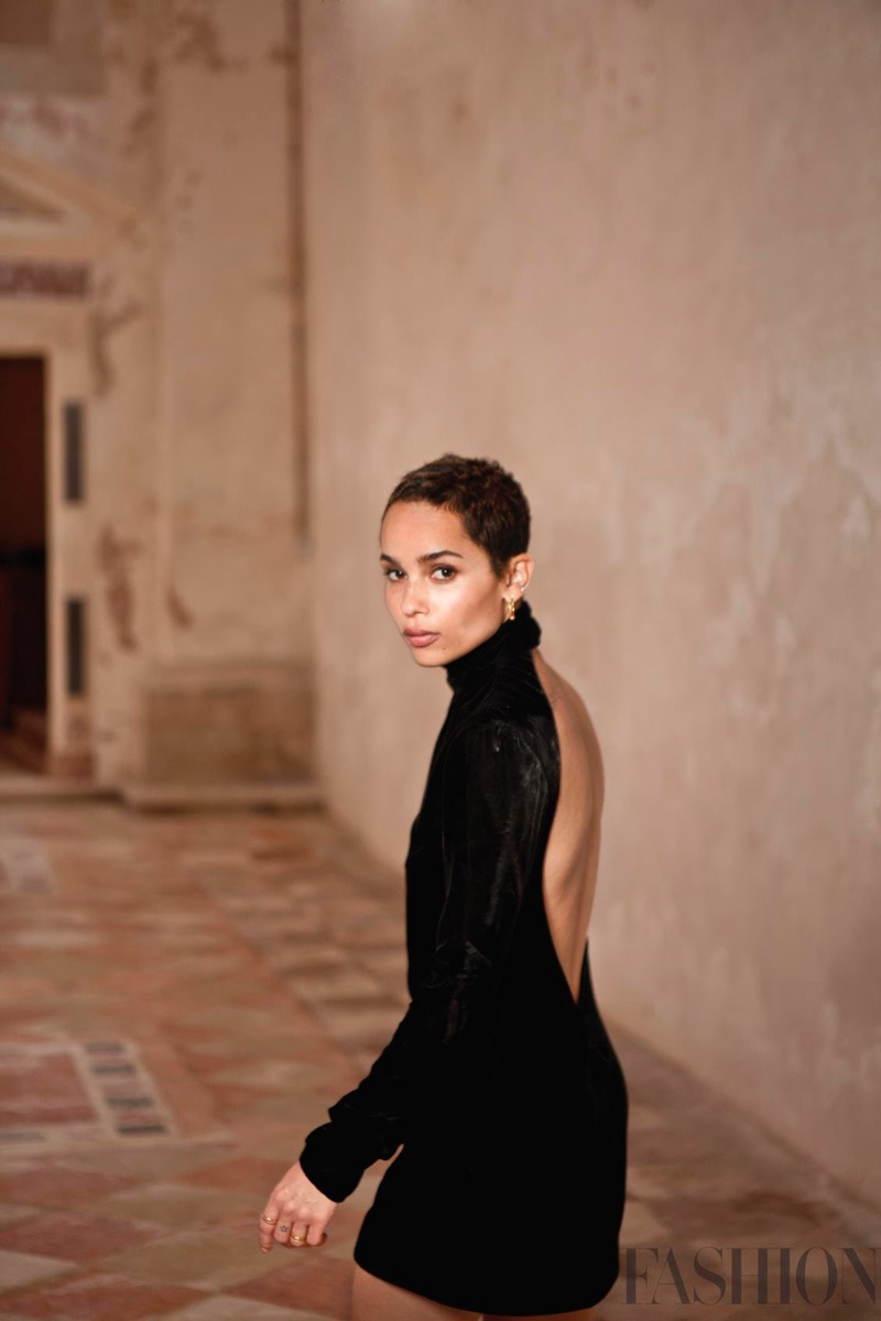 Actress Zoe Kravitz poses in black Saint Laurent dress