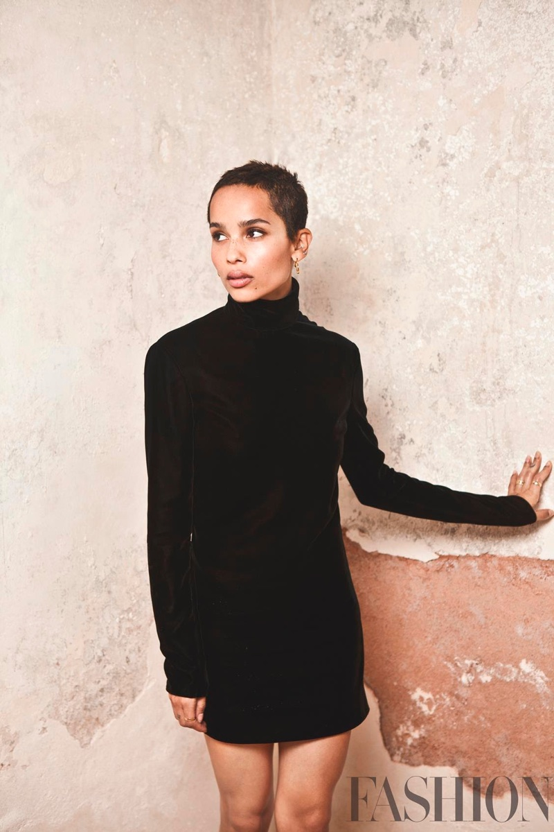 Zoe Kravitz wears black turtleneck dress from Saint Laurent