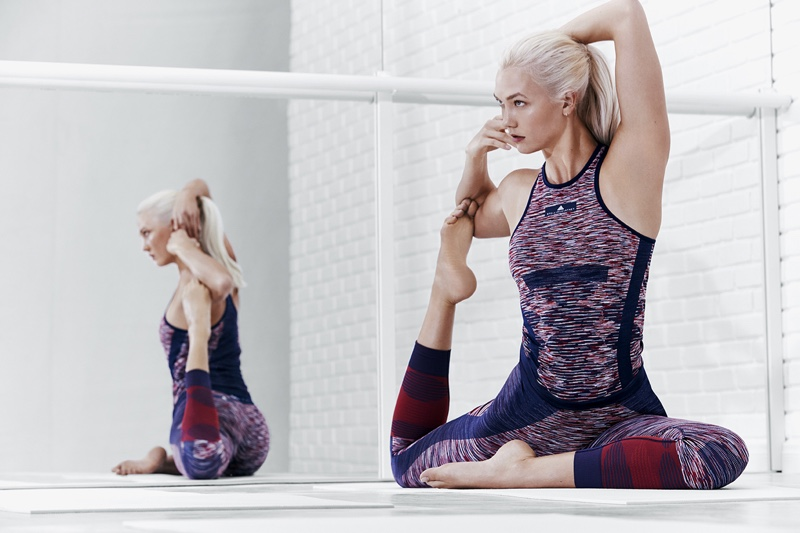 Model Karlie Kloss strikes a yoga pose in adidas by Stella McCartney's spring 2018 campaign