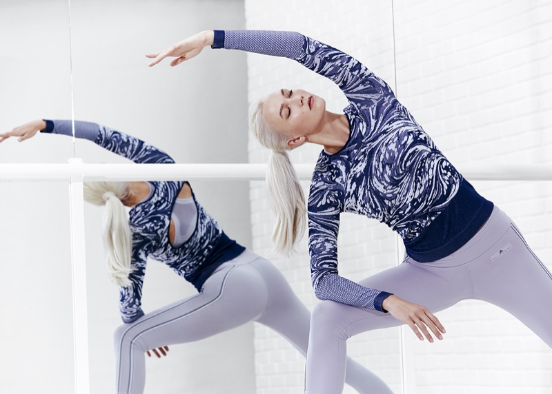 Leaning into a stretch, Karlie Kloss fronts adidas by Stella McCartney's spring 2018 campaign