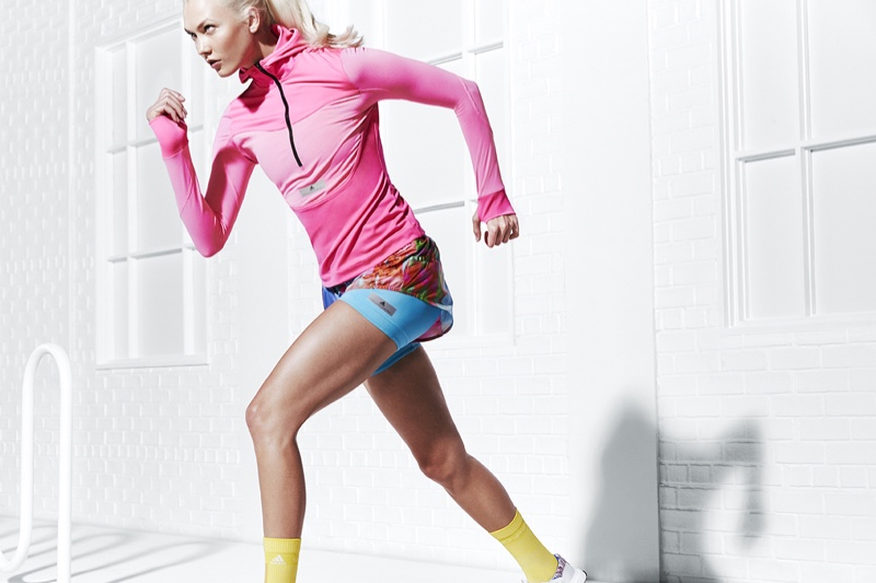 Going for a run, Karlie Kloss fronts adidas by Stella McCartney spring 2018 campaign