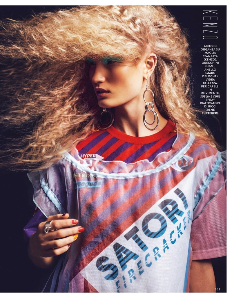 Ali Osk Embraces Sporty Glam Fashion for Grazia Italy
