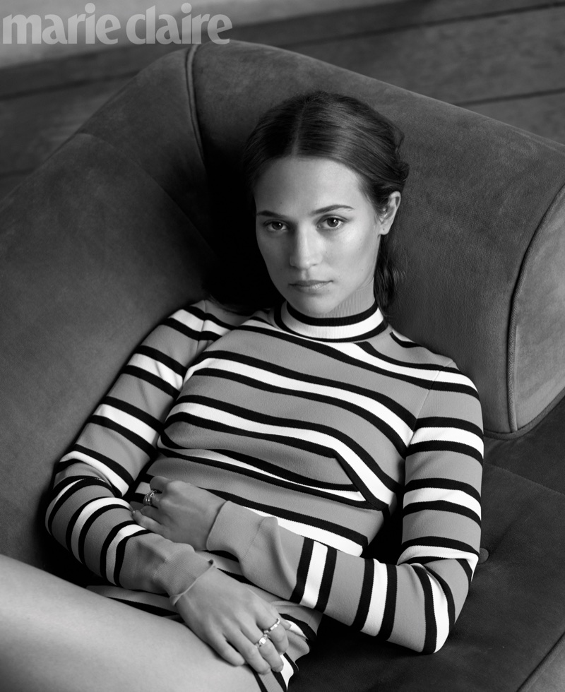 Alicia Vikander poses in Marc Jacobs bodysuit