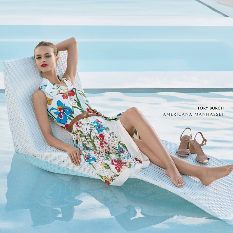 Americana Manhasset features Tory Burch dress in spring-summer 2018 campaign