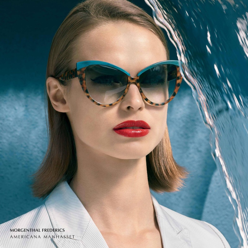 Birgit Kos models Morgenthal Frederics sunglasses in Americana Manhasset's spring-summer 2018 campaign