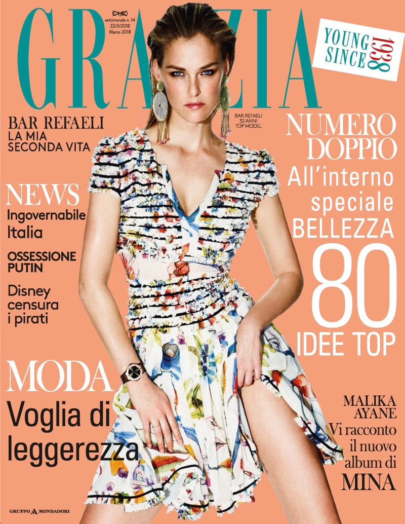 Bar Refaeli Wears Elegant Fashions for Grazia Italy