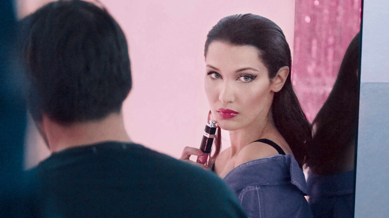 Bella Hadid poses shot behind the scenes for Dior Addict Lacquer Plump campaign