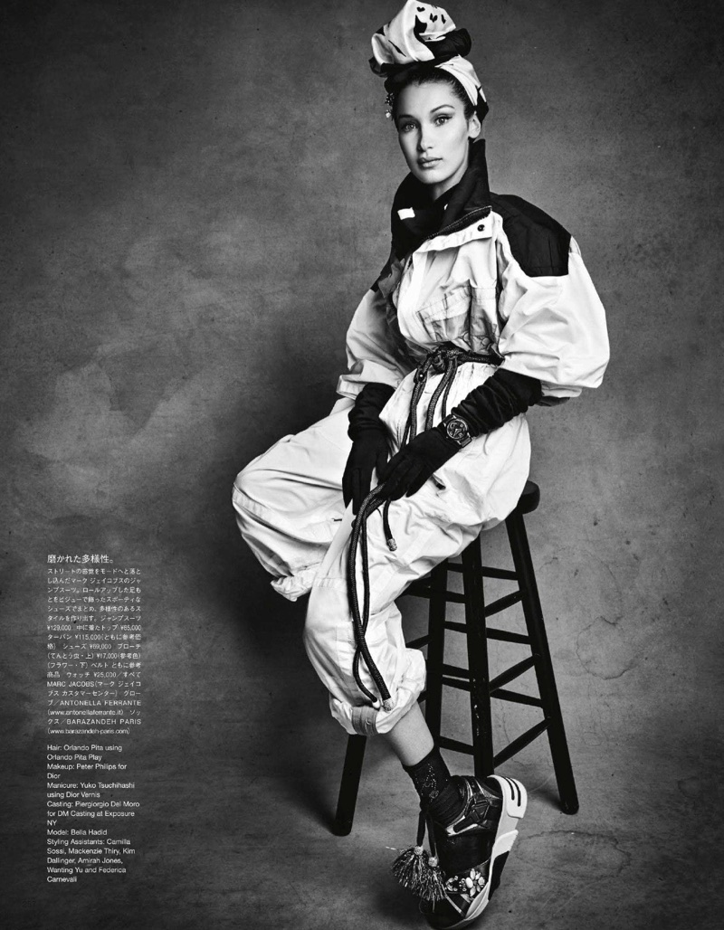 Bella Hadid Poses in Chic Layers for Vogue Japan