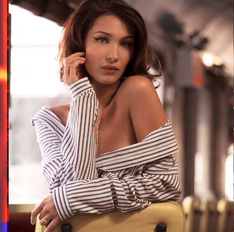 Model Bella Hadid wears striped top in Penshoppe's spring-summer 2018 campaign