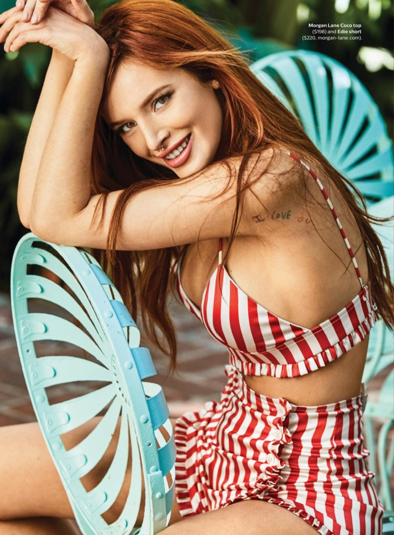 Wearing stripes, Bella Thorne poses in Morgan Lane top and short