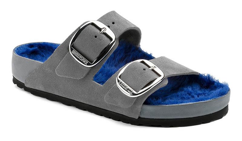 Birkenstock Arizona Big Buckle Sandal in Suede Leather Gray $270