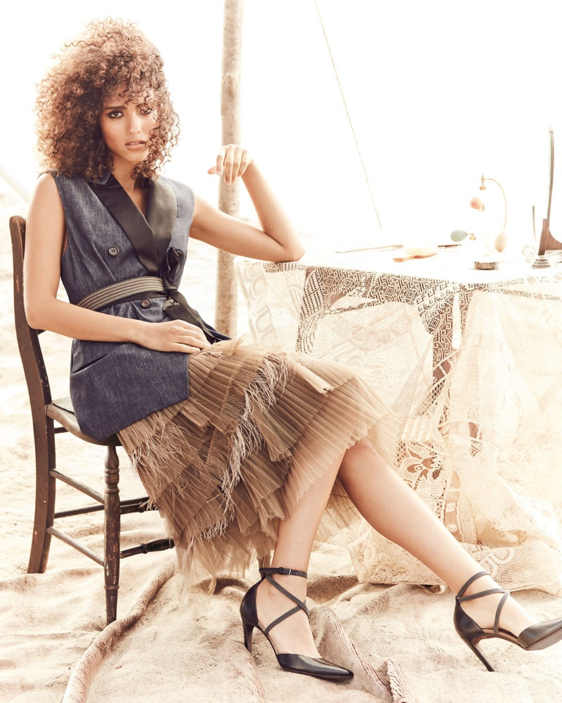 Brunello Cucinelli Peak Lapel Double-Breasted Denim Vest, V-Neck Grosgrain-Strap Lame Tank, Tiered Tulle Feathered Midi Skirt and Leather d'Orsay Pump