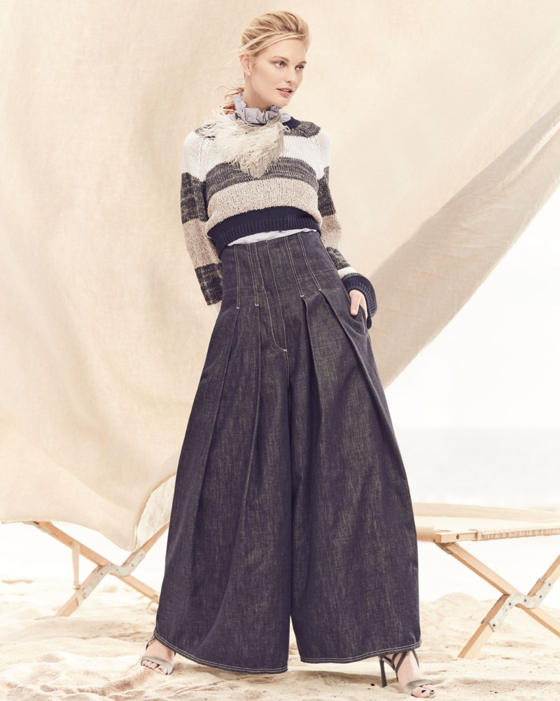 Brunello Cucinelli Coated Rugby-Stripe Long-Sleeve Cropped Pullover Sweater, Sleeveless Ruffle-Collar Micro-Striped Cotton Voile Top, Wide-Leg Denim Skirt-Pants and Monili-Strap Velvet Sandal