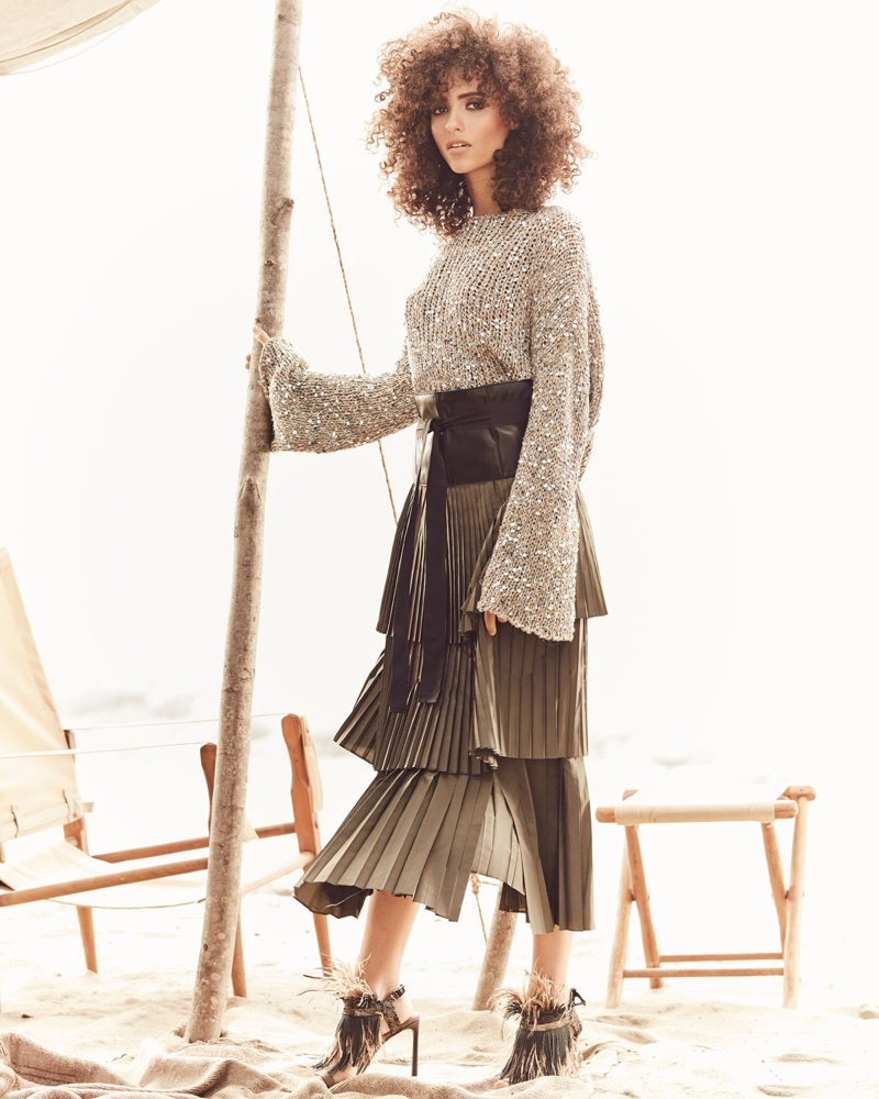 Brunello Cucinelli Waxed Cotton-Linen Tweed Cropped Pullover with Paillettes, Tiered Pleated Long A-Line Skirt, Leather Corset Belt with Grosgrain Ties and Monili and Feather Sandal