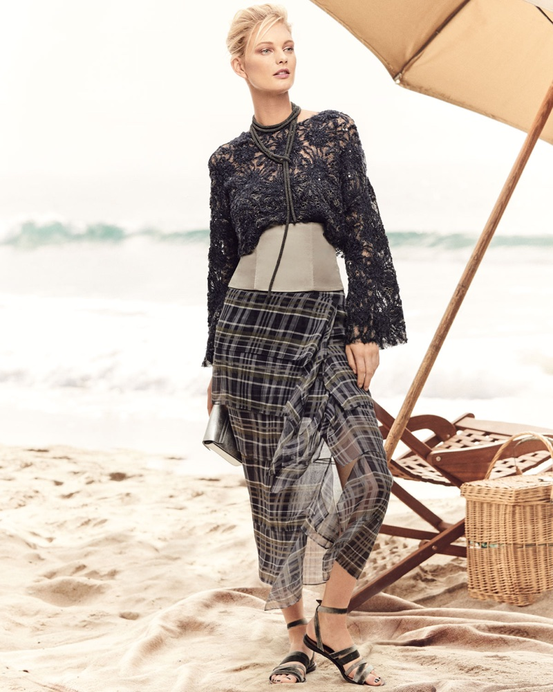 Brunello Cucinelli Artisan Round-Neck Bell-Sleeve Blouse with Tube Top, Silk Plaid Ruffle Skirt, Satin Corset and Monili Thick Rope Lariat Necklace