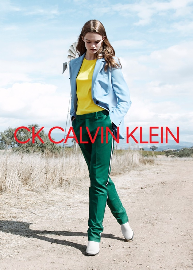 Lulu Tenney wears color-blocked look for CK Calvin Klein's spring-summer 2018 campaign