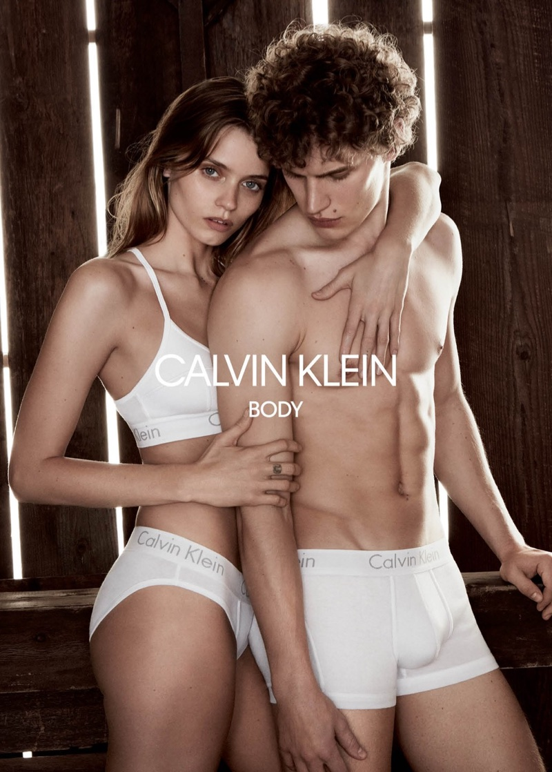 Abbey Lee Kershaw cozies up to Timo Baumann in Calvin Klein Underwear's spring-summer 2018 campaign
