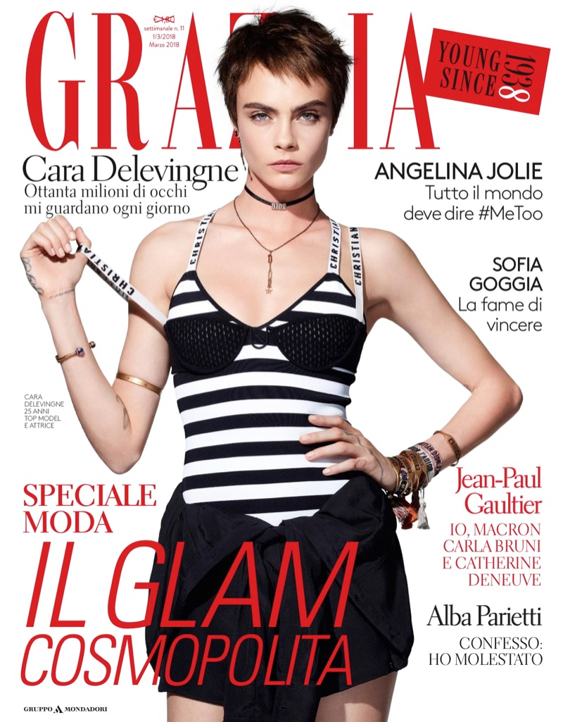 Cara Delevingne on Grazia Italy March 1st, 2018 Cover