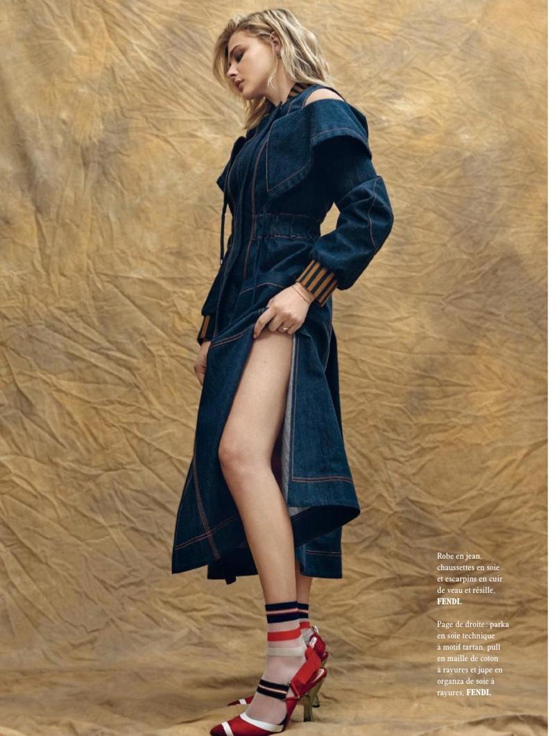 Actress Chloe Grace Moretz poses in Fendi denim dress and sandals