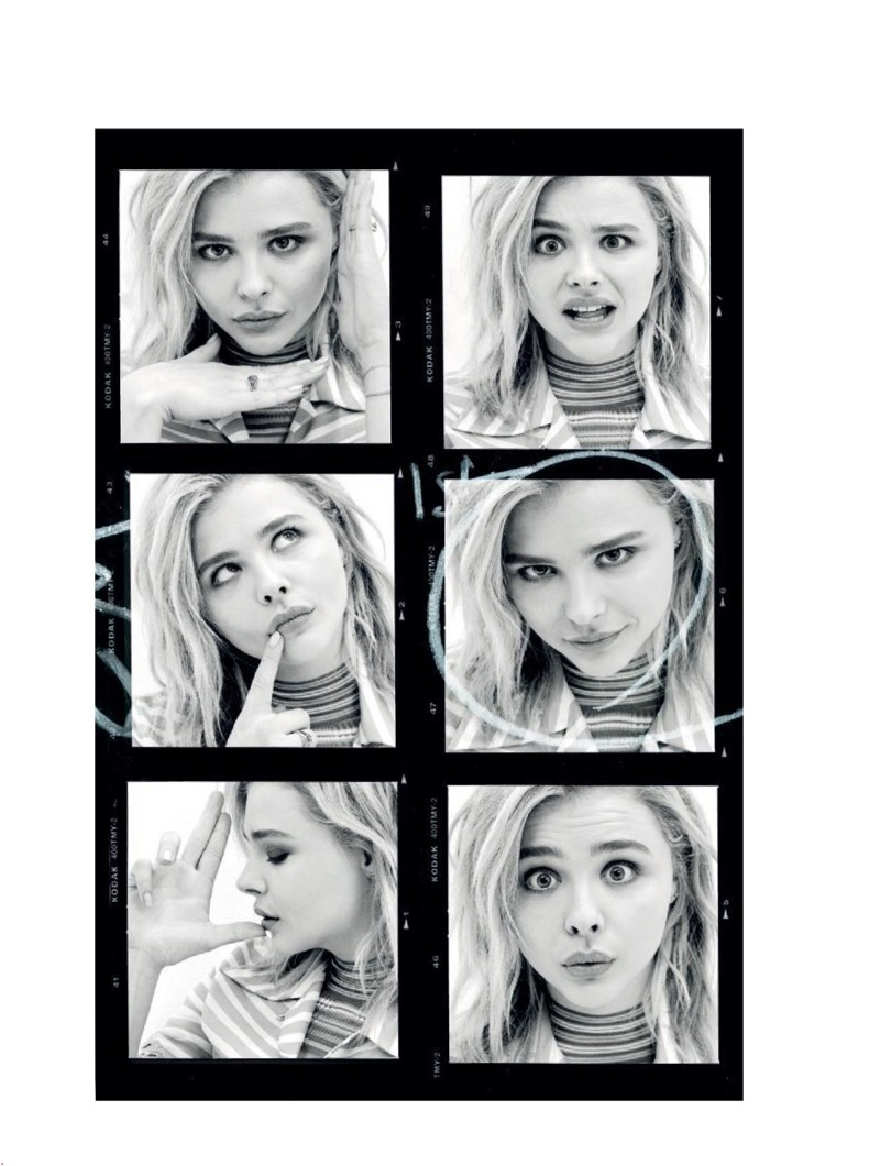 Showing off many faces, Chloe Grace Moretz poses in these black and white images