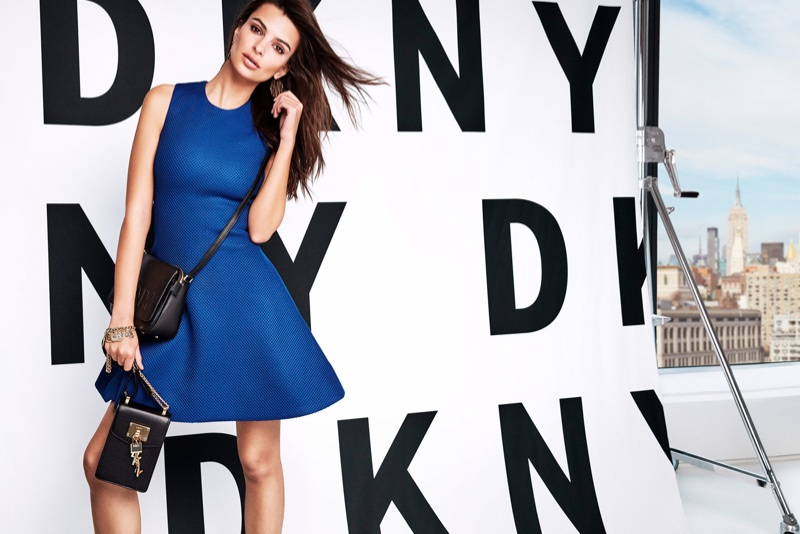Emily Ratajkowski wears blue dress in DKNY's spring-summer 2018 campaign
