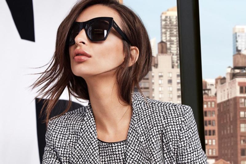 Model Emily Ratajkowski wears sunglasses in DKNY's spring-summer 2018 campaign