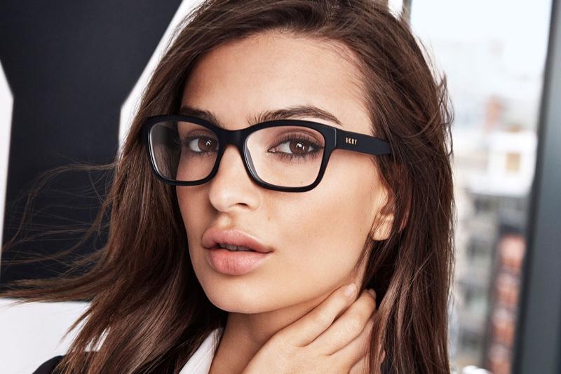 Emily Ratajkowski wears eyewear in DKNY's spring-summer 2018 campaign