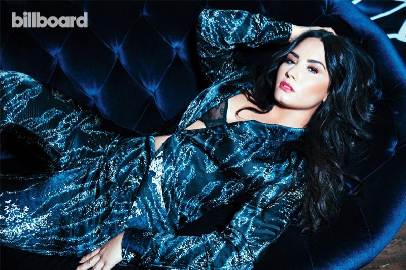 Singer Demi Lovato wears Baja East suit and Wixson Paris bra