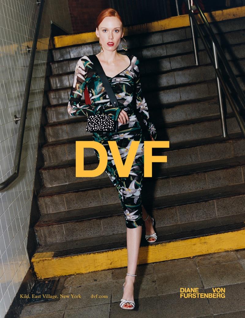 Kiki Willems models floral print dress in Diane von Furstenberg's spring-summer 2018 campaign