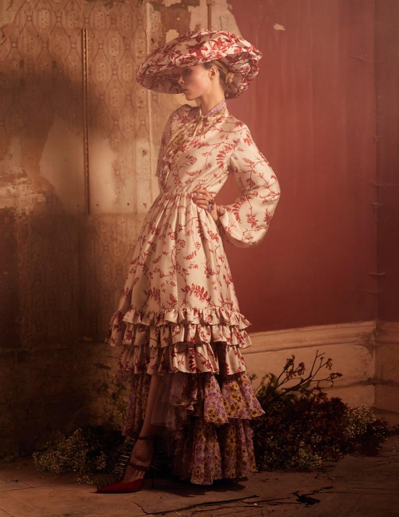 Edie Campbell Wears Romantic Floral Fashions for Vogue Paris