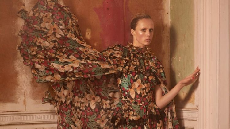 Edie Campbell Wears Romantic Floral Fashions for Vogue Paris