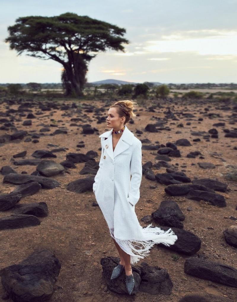 Edita Vilkeviciute Models Safari Fashions for ELLE France