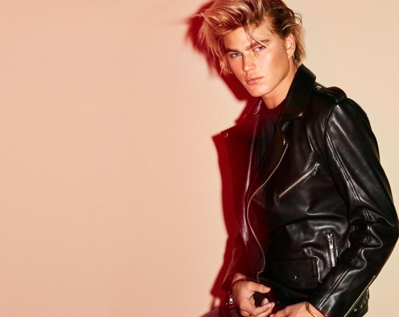 Jordan Barrett wears leather jacket from Elizabeth Sulcer x Miss Sixty collaboration