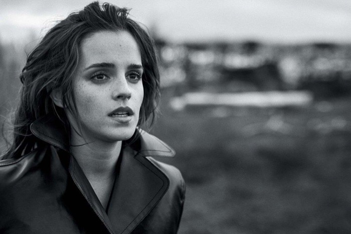 Actress Emma Watson poses in Kwaidan Editions coat