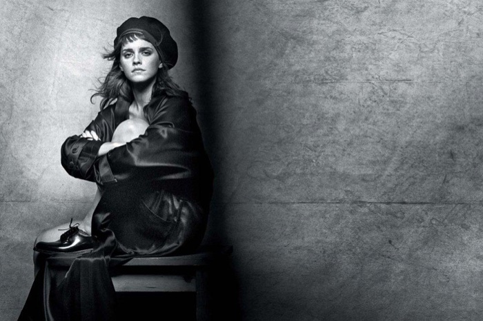 Actress Emma Watson poses in Gabriela Hearst Jacket and vintage cap