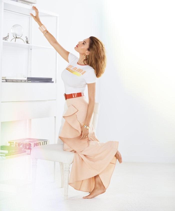 New York and Company x Eva Mendes Miami Graphic Tee and Rosa Ruffled Maxi Skirt