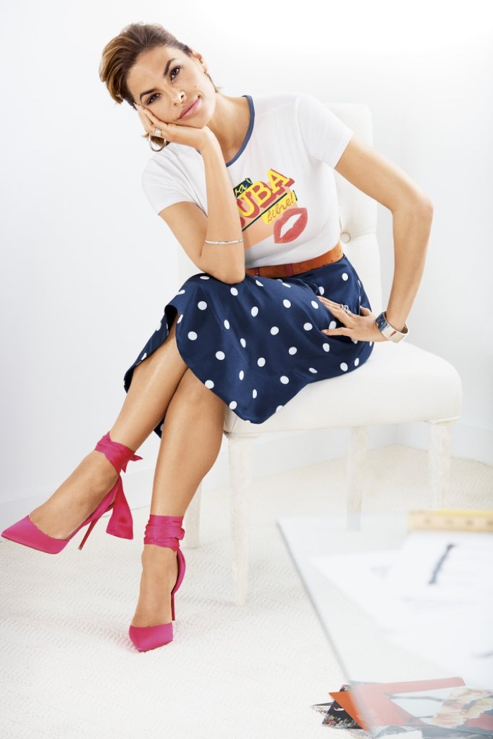 Eva Mendes wears New York and Company Viva Cuba Libre Graphic Tee and Kaley Dot-Print Full Skirt