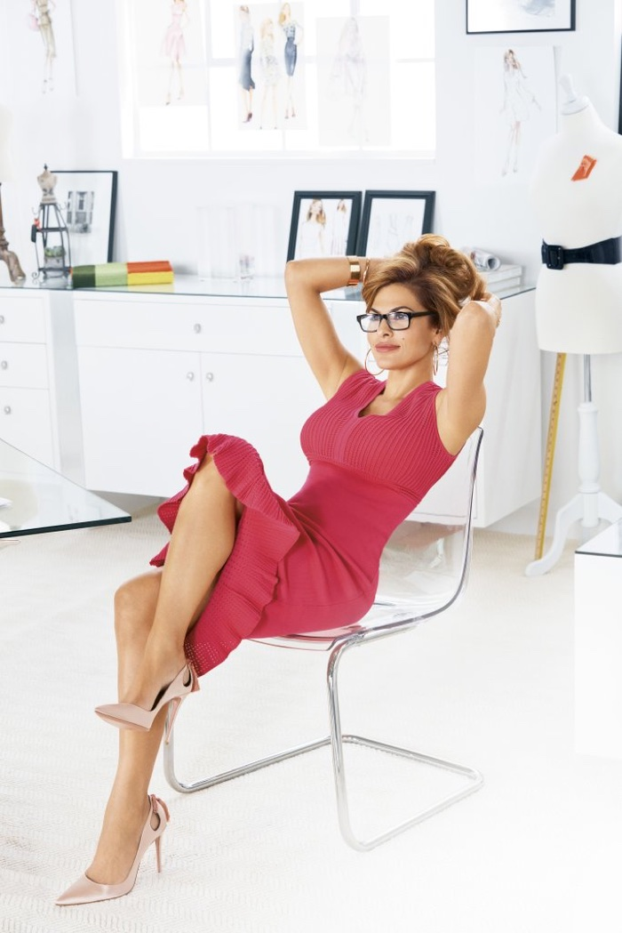 Eva Mendes wears New York and Company Krista Flounced Sweater Dress