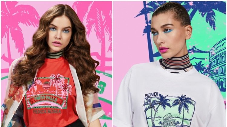Barbara Palvin & Hailey Baldwin Model Fendi's Tropical Tees