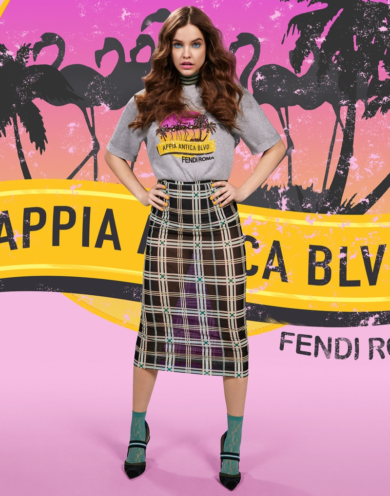 Model Barbara Palvin wears Appia Antica BLVD from Fendi Pop Tour collection