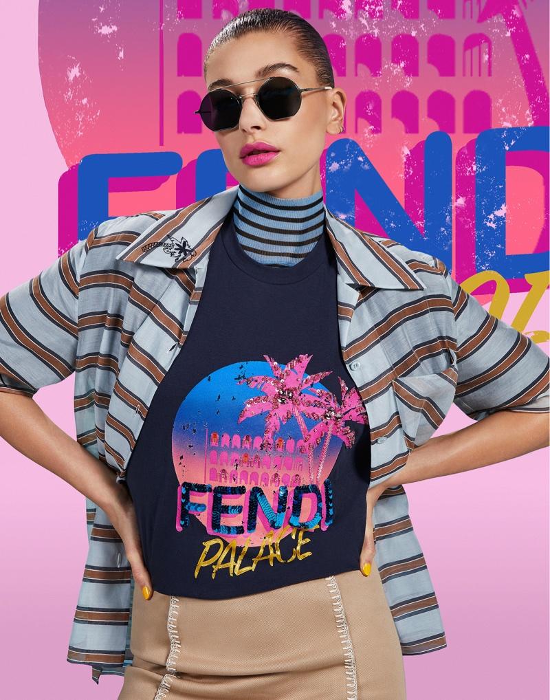 Hailey Baldwin embraces stripes for Fendi Pop Tour campaign