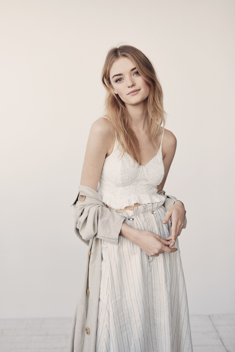 Willow Hand models Intimately Free People Fleur De Lys Crop Cami and Free People Sweet Melody Trench Coat
