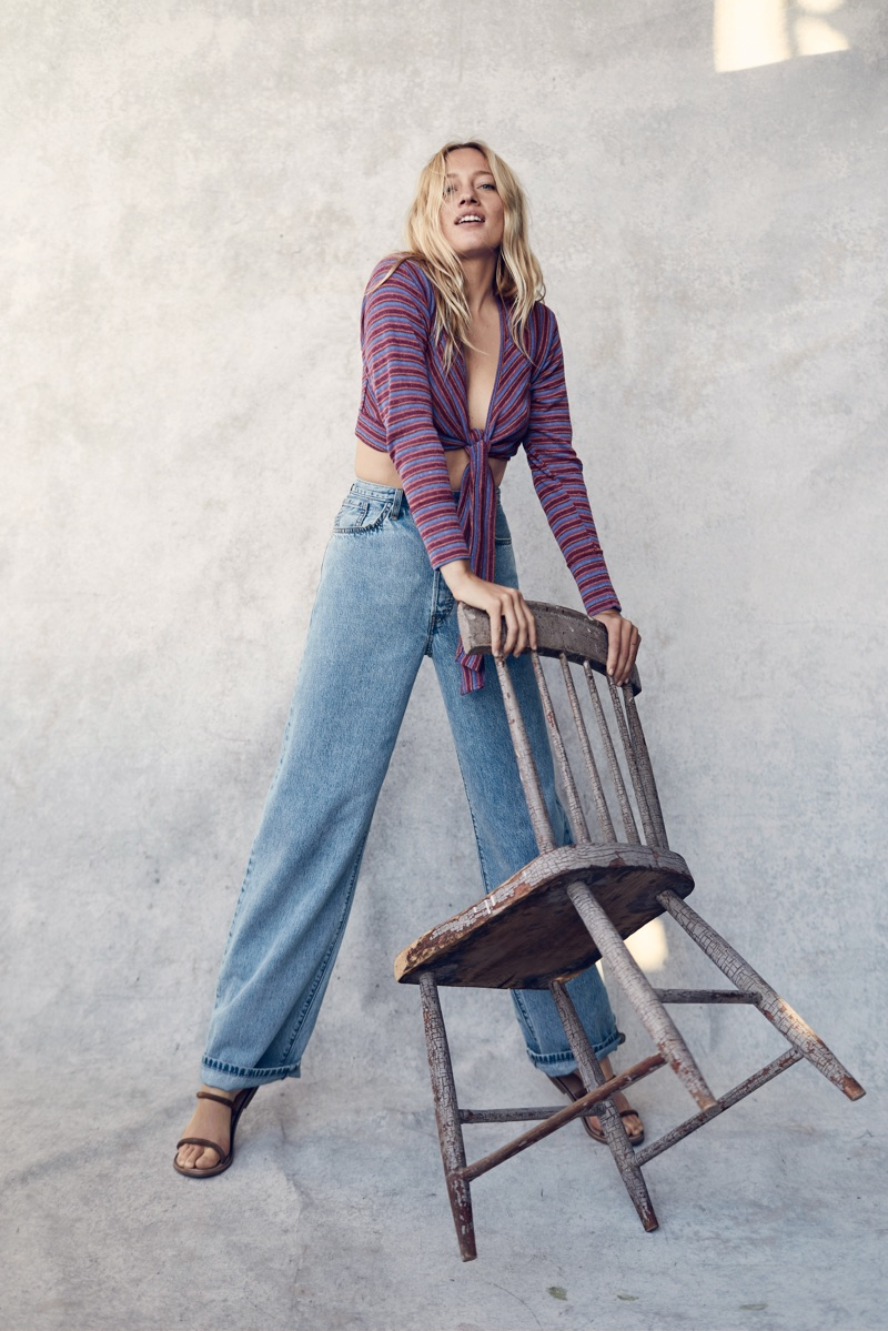 Zippora Seven wears We The Free Tied Up Hacci and Levi's Big Baggy Jean