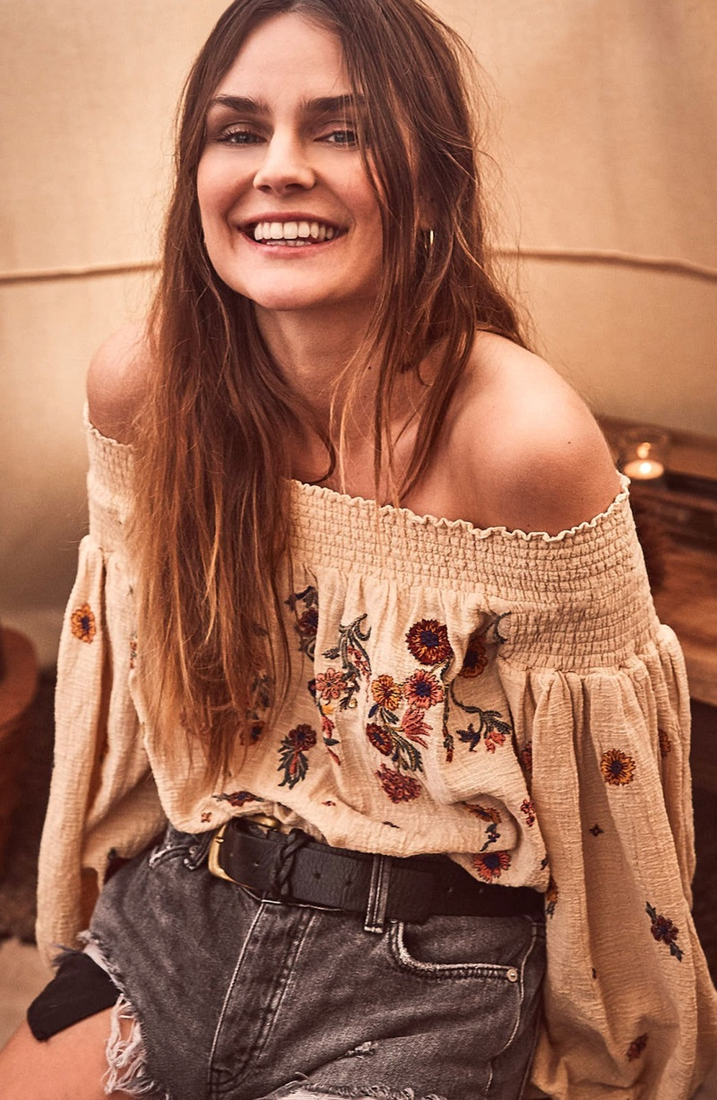Free People Saachi Smocked Off the Shoulder Top $128 and Sashed & Relaxed Cutoff Denim Shorts $88