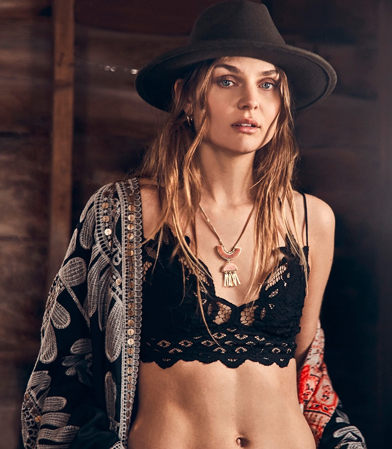 Free People Lisbon Embroidered Duster $298 and Intimately Free People Adella Longline Bralette $38