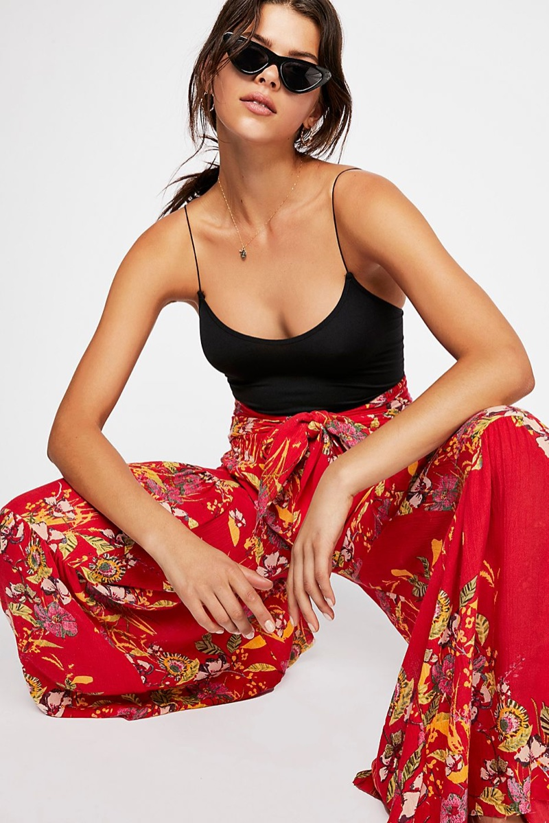 Intimately Free People Skinny Strap Brami, FP One Aloha Printed Wide Leg Pants and Free People Vienna Cat Eye Sunnies