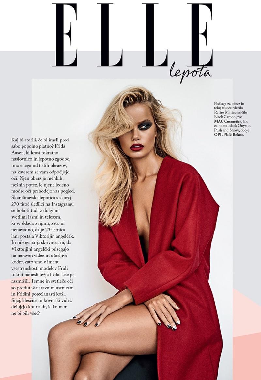 Frida Aasen Wears Chic Makeup Looks for ELLE Slovenia